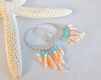 Coral Earrings - Hoop Earrings - Silver Hoops - Aqua Earrings - Statement Earrings