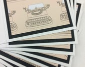 Typewriter Gift Cards Set of Eight Handmade Simple Simplicity Geekery Unisex Set Writer Book Pages Typing Secretary Office Coworker Blank
