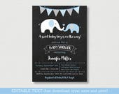Elephant Baby Shower Invi...