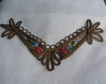 Antique Gold Thread Motif Applique with Ombre Roses