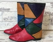 Vintage Van Eli Color Block Leather Boot - Made in Italy - Red Green Mustard Purple 9.5