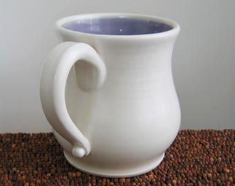 Pot Belly Coffee Mug 16 oz. Stoneware Ceramic Hand Thrown Pottery Mug, Coffee Cup in Lavender