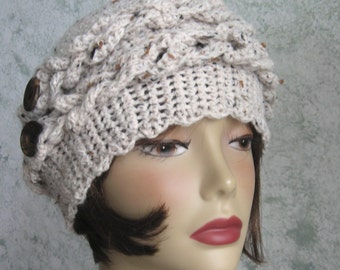 Womens Crochet Hat With Braid And Button Trim Off White Tweed Crochet Hat Winter Chemo Hair Loss Hat Fits Head Sizes 21- 23 Inch