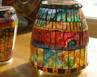 Vase. Mosaic Vase. Mosaic Alcohol Ink Vase. Beaded Vase. Up cycled Vase. Up Cycled Mosaic Vase.