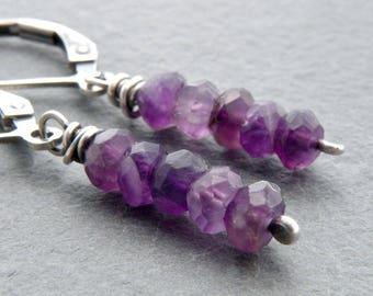 Amethyst Birthstone Earrings, Everyday Earrings, Purple Birthstone Gemstone, February Birthday, Lever Back Ear Wires,  #4778