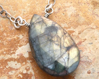 Blue Labradorite Pendant Necklace, Sterling Silver, Gold Flash Labradorite Necklace, Blue Green Gemstone Faceted Teardrop, #4803
