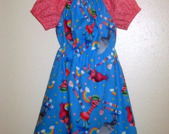 Branch and Poppy Blue Peasant dress, babies and children sizes