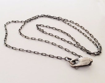 Necklace Sterling Silver Oxidized Drawn Cable Chain 3.6x1.7mm  18""