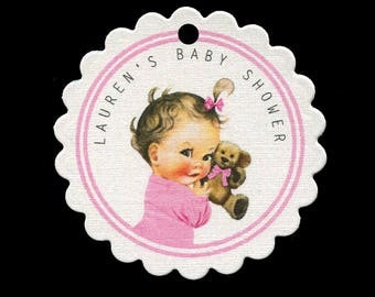 Baby Shower Favor Tags - Baby Girl Tags - Personalized - Thank You Tag - Bag Tag - Cookie Tag - Baby Girl with Teddy Bear - Pink
