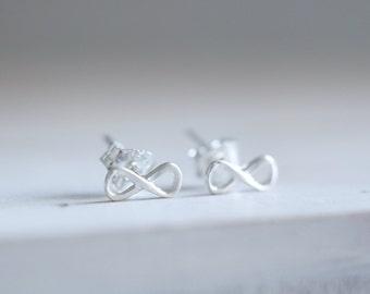 Infinity earrings. Sterling silver infinity stud earrings. Infinity studs, silver studs, Infinite love earrings, Modern studs, Valentine's.