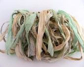 Silk Sari Ribbon, Recycled Seafoam & Antique White Mix, 10 Yards