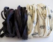 Silk Sari Ribbon, Black/Mulberry & Feather Sari Ribbon, 10 Yards