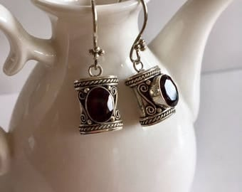 Bali Silver & Garnet Drop Earrings-Sterling Silver Earrings