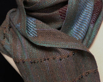 Handwoven Rayon Boucle Inlay and Beaded Scarf