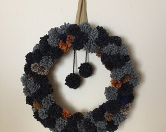 "20"" Pom-Pom Wreath in Greys with Orange Accents"