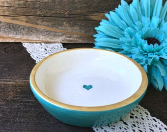 Caribbean Blue Ring Bowl with Tiny Heart and Metallic Gold Trim -  Ring Dish Gift Ready to Ship
