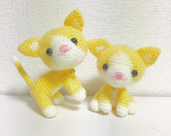 The Twin Cat / Amigurumi Cat / Crocheted Cat --- A Set of 2 - Lemon Yellow