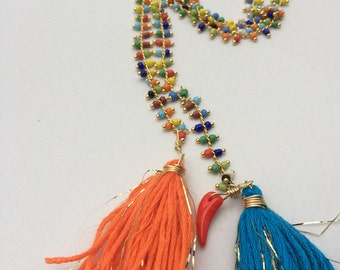 Tassel Multi strand Necklace/ Stament Necklace/Boho Chic/ Gypsy long Necklace/Colombian Design/ Free Shipping