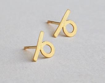 Loop earrings, solid 14k gold earrings, mismatched earring, geometric gold stud earring, solid gold stud earring, mismatched studs, 14k gold