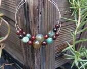 Gemstone Hoop Earrings with Jade and Agate