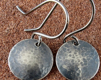 "1/2"" (12.7 mm) Sterling Silver Earrings /Hammered,Oxidized and Domed"