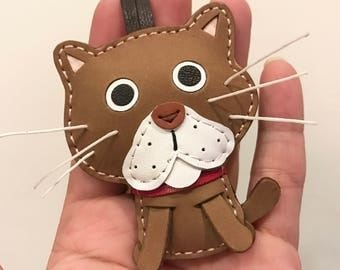 Special offer - Ready stock - Small size -  BinBin the Cat cowhide leather charm ( Brown )
