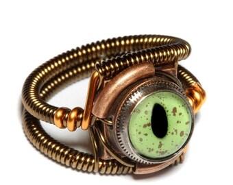 SALE 25% OFF - Steampunk Jewelry - RING - Alligator Green taxidermy glass eye