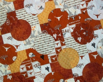 COLLEGIATE SERIES UT University of Texas Longhorn Baby Quilt from Quilts by Elena Modern Appliqued Circles Wall Hanging Ready to Ship