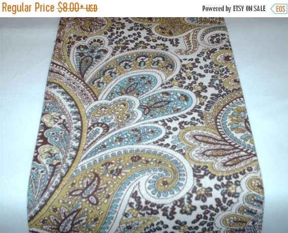 ON SALE NOW Paisley Table Linens  Chocolate Brown and Tan Paisley Table Runner, or Napkins or Placemats With aqua Blue, Sage Green