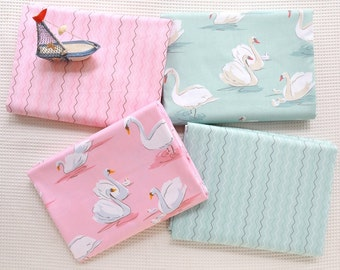4371 - Swan & Wave Cotton Fabric - 62 Inch (Width) x 1/2 Yard (Length)