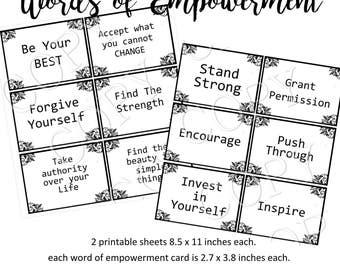 Instant Download  - Words of Empowerment - Flash Cards - Digital Download - Printable Collage Sheet - Journal - Scrapbook - Encouragement