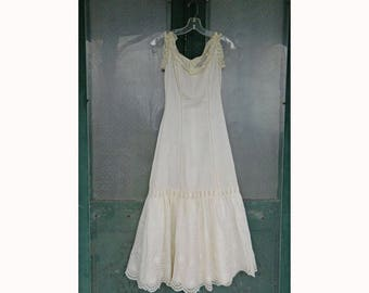 Victorian Petticoat Slip with Lace and Eyelet Trim