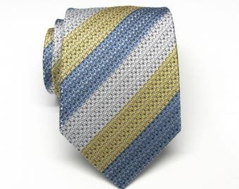 Mens Ties Silver Gray Blue Yellow Stripes Necktie With Matching Pocket Square Option. Wedding ties.