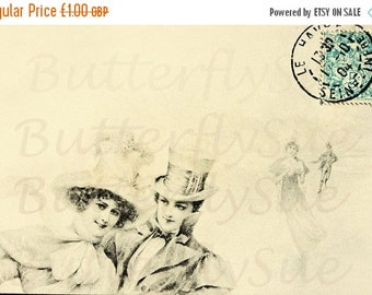 NOW  ON SALE Digital Download,Victorian Vienne Winter Postcard Image,Romantic Ice Skaters,.Instant download 300dpi