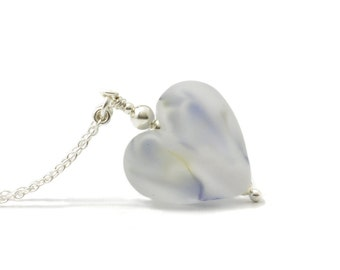 Frosted Heart Necklace | Etched Lampwork Glass Heart Necklace | Frozen Heart Pendant on Sterling Silver
