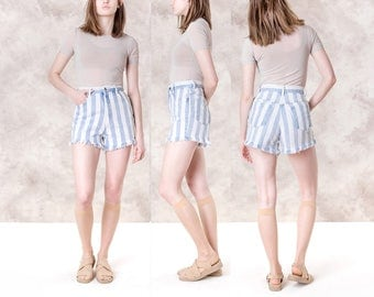 HIGH WAIST SHORTS blue white Stripes cut offs 90s vintage Jean Denim daisy dukes / Size 5 / waist 27 / better stay together