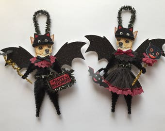 Chihuahua BAT Halloween ornaments DOG ornaments vintage style chenille ORNAMENTS set of 2
