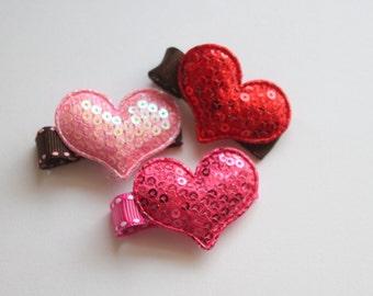 Glitter Appliqué Heart Hair Clip-Pick One