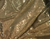 Antique Gold SEQUIN Spangle Sewn on Mesh Fabric  1/4 Yard