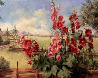 PINK and RED HOLLYHOCKS Landscape Vintage.  Art Print, Fabric Block, Waterslide Decal.  Size Options.