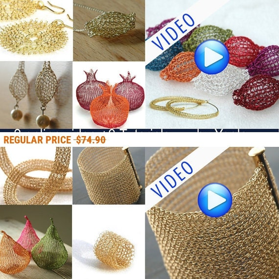 Holiday Sale - 2 online video TUTORIALS plus 9 wire crochet tutorials in PDF ring, Sunflowers, Hoops, Tube,  Beads, Cuff ,Drops , Pom, Pears