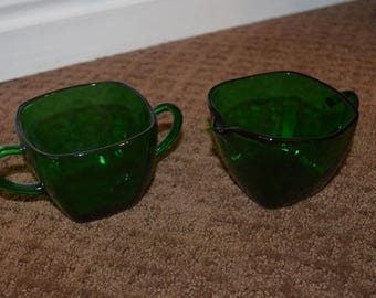 Vintage Anchor Hocking Fire King Charm Forest Green Glass Cream & Sugar Set