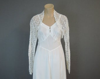 Vintage Lace Shrug, Cropped Bolero Jacket for Wedding or Prom Gown, 34 bust, 1950s