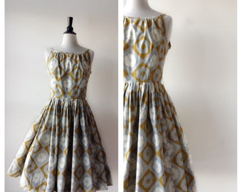 Vintage 1950s Dress - 50s Gold and Gray Dress