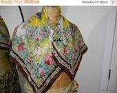 Fall Sale Vintage Silk Floral Scarf, Flower Cart