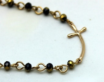 Gold Cross and Crystal Bracelet
