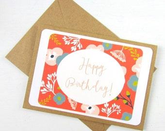 Happy Birthday Card | Floral Birthday Card | Happy Birthday Card with Flowers | Budget Greeting Card | Blush Pink Salmon Avacado Eriadesigns