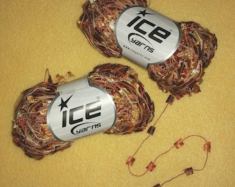 Variegated Copper Butterfly Yarn by Ice Yarns, two skeins of shiny medium weight novelty yarn