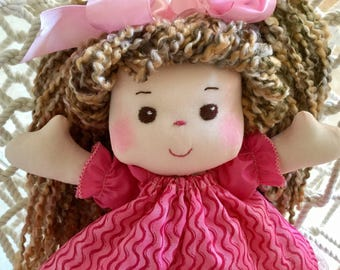 Fabric Doll, Sew Sweet Samantha  Doll, Child Friendly, 13 inches tall Pink Dress Brown Eyes