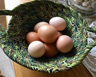 Handmade Chicken Egg Collecting Basket, Coiled Fabric Cotton Batik Basket or Bowl - Green - Chicken Egg Collection